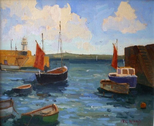 Eric Ward Boats in St Ives Harbour oil painting on canvas